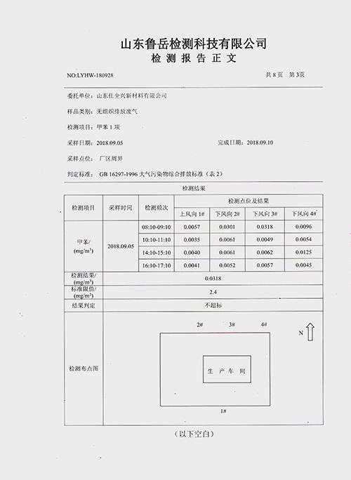 山东仕全兴新材料有限公司VOCs排放检测数据公示