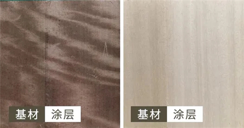 染色木皮上漆膜黄变对比